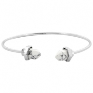 Armband metaal Stone look Zilver-white