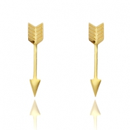 Stud oorknopjes stainless steel arrow Goud