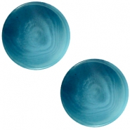 12 mm platte cabochon Polaris Elements Jaquard Light denim blue