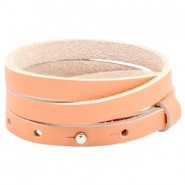 Cuoio armbanden leer triple 8 mm voor 12 mm cabochon Peach echo orange