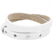 Cuoio armbanden leer 8 mm dubbel voor 12 mm cabochon Bright white