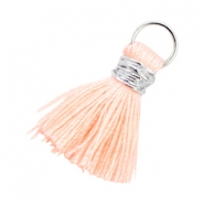 Kwastjes Ibiza style 2cm Zilver-Light peach orange