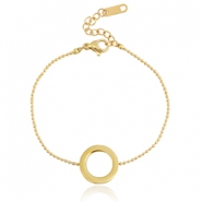 Stainless steel armbandje circle Goud
