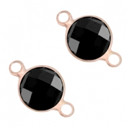 Tussenstukken van crystal glas rond 8mm Jet black-light rosegold