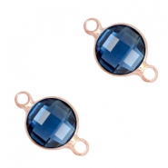 Tussenstukken van crystal glas rond 6mm Denim blue-light rosegold