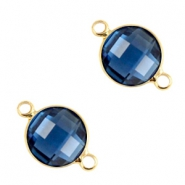 Tussenstukken van crystal glas rond 6mm Denim blue-gold