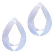 Druppelvorm hangers SQ facet 10x14mm Light blue opal
