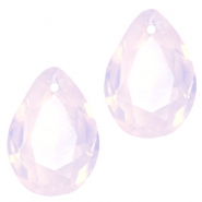 Druppelvorm hangers SQ facet 10x14mm Rose water opal