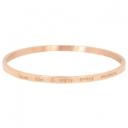 "Stainless steel armband met quote ""LOVE LIFE & ENJOY EVERY MOMENT"" large Rosegold"