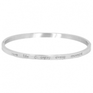 "Stainless steel armband met quote ""LOVE LIFE & ENJOY EVERY MOMENT"" large Zilver"