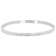 "Stainless steel armband met quote ""SMILE♡LOVE♡DREAM"" large Zilver"