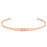 "Stainless steel armband met quote ""INSPIRE"" Rosegold"