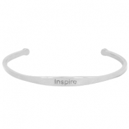 "Stainless steel armband met quote ""INSPIRE"" Zilver"