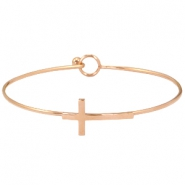 Stainless steel armband kruis Rosegold