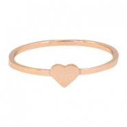 Stainless steel ring hart 17mm Rosegold