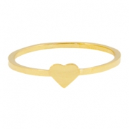 Stainless steel ring hart 16mm Goud