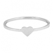 Stainless steel ring hart 16mm Zilver