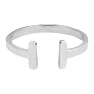 Stainless steel ring double bar 18mm Zilver