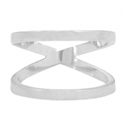 Stainless steel double ring 17mm Zilver