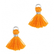 Mini kwastjes Ibiza style Zilver-Russet orange