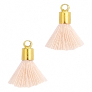 Mini kwastjes Ibiza style met eindkap Goud-Light peach orange