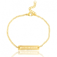 "Stainless steel armbandje met quote ""WISH DREAM BELIEVE"" Goud"