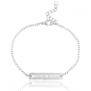 "Stainless steel armbandje met quote ""WISH DREAM BELIEVE"" Zilver"