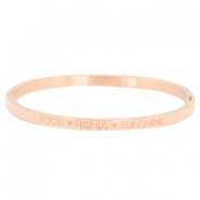 "Stainless steel armband thin met quote food♡friends♡sunshine"" Rosegold"