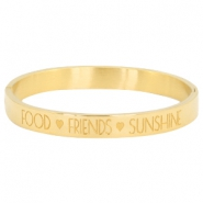"Stainless steel armband met quote ""food♡friends♡sunshine"" Goud"
