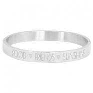 "Stainless steel armband met quote ""food♡friends♡sunshine"" Zilver"