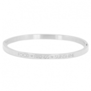 "Stainless steel armband thin met quote ""food♡friends♡sunshine"" Zilver"