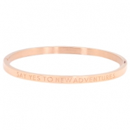 "Stainless steel armband thin met quote ""SAY YES TO NEW ADVENTURES"" Rosegold"
