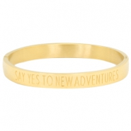 "Stainless steel armband met quote ""SAY YES TO NEW ADVENTURES"" Goud"
