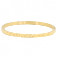 "Stainless steel armband thin met quote ""SAY YES TO NEW ADVENTURES"" Goud"