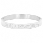 "Stainless steel armband met quote ""SAY YES TO NEW ADVENTURES"" Zilver"