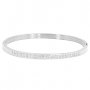"Stainless steel armband thin met quote ""SAY YES TO NEW ADVENTURES"" Zilver"