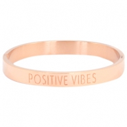 "Stainless steel armband met quote ""POSITIVE VIBES"" Rosegold"