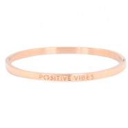 "Stainless steel armband thin met quote ""POSITIVE VIBES"" Rosegold"