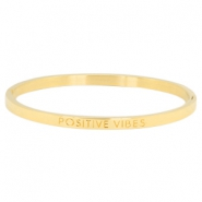 "Stainless steel armband thin met quote ""POSITIVE VIBES"" Goud"