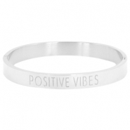 "Stainless steel armband met quote ""POSITIVE VIBES"" Zilver"