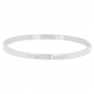 "Stainless steel armband thin met quote ""POSITIVE VIBES"" Zilver"