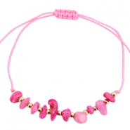 Armbandjes met chipstone Light neon pink