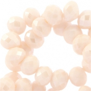 Top Facet kralen 6x4 mm disc Champagne beige-pearl diamond coating