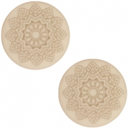 12 mm platte cabochon Polaris Elements Mandala print matt Light taupe