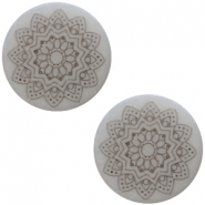 12 mm platte cabochon Polaris Elements Mandala print matt Ice grey