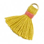 Kwastjes Ibiza style 1.5cm Goud-mustard yellow-indian red