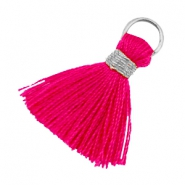 Kwastjes Ibiza style 1.8cm Zilver-ruby pink