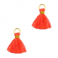 Kwastjes Ibiza style 1cm Goud-vermillion coral red orange