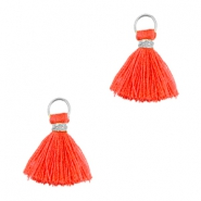 Kwastjes Ibiza style 1cm Zilver-vermillion coral red orange