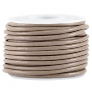 DQ leer rond 3mm Dark taupe brown